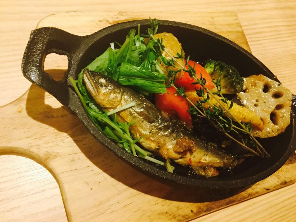 鮎とイロイロ野菜のアヒージョ